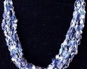Crocheted Trellis Necklace in Indigo Ready to Ship