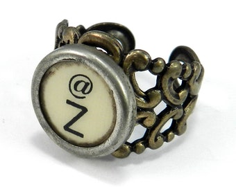 Vintage Typewriter Key Ring - Letter Z Ring Name Ring - Custom Initial Ring - Brass Adjustable Ring