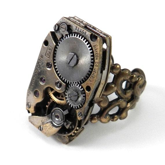 steunk ring brass clockwork antique by compassrosedesign