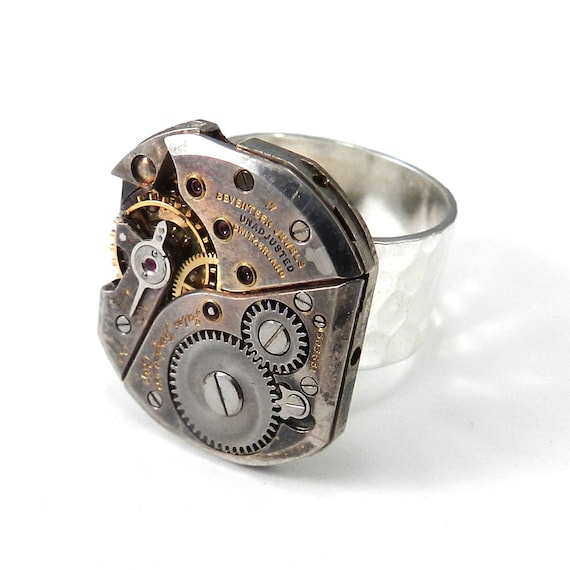 steunk jewelry silver clockwork vintage mechanical