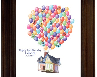 Birthday Gift House Up Guest book Ideas Birthday Guest Sign In Disney Personalized Birthday Gift  Movie Up House Modern guest book 100