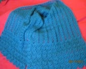 Crocheted Wide Scarf or Shawl Teal