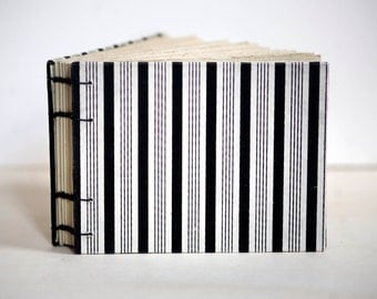 black and white stripe coptic notebook