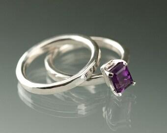 Amethyst emerald cut Sterling Silver Ring, February Birthstone Amethyst Ring, Purple Violet Amethyst Silver Ring