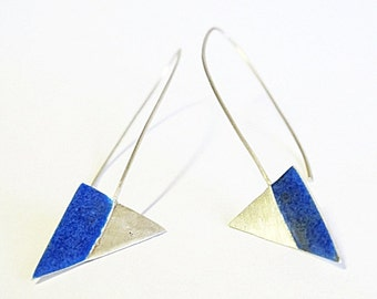Triangle Royal Blue Enamel Dangle Earrings Statement long dangle recycled eco sterling modern blue enamel earrings Eco Art Geometric earring