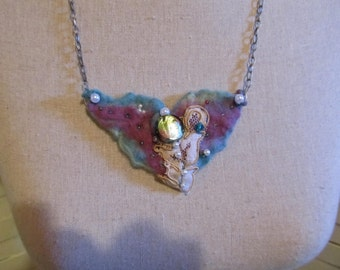 Nuno Felted Necklace with Vintage Lace and Beads.....Pretty Pastel