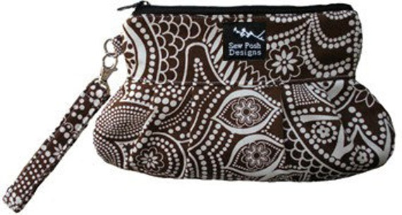 Paisley Brown White Fabric Pleated Wristlet Clutch Iphone Camera Cosmetic Zipper Pouch with Key Fob-Chocolove