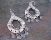 Last Pair.....Large Sterling Silver Boho Chandelier Earrings with Rainbow Moonstone