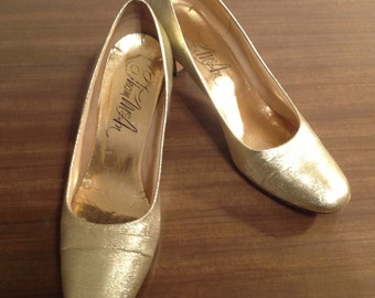 1960 Lame Glitter Gold Pump by Thom McAN