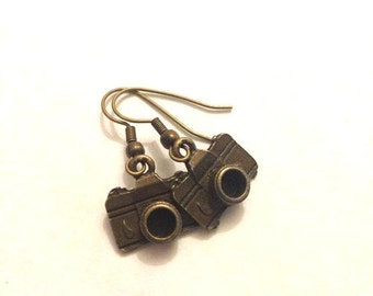Antique Brass Vintage Camera Charm Earrings