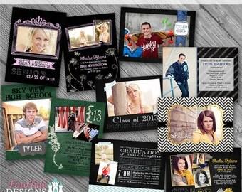 Chalk It Up Graduation Announcement COLLECTION- 5 custom 5x7 photo templates for photographers