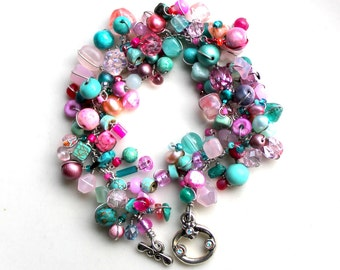 pink plus teal bracelet. beaded rose and turquoise jewelry. womens birthday gift. wire wrapped beads by uniquenecks