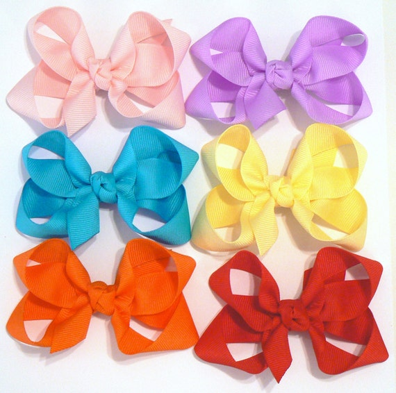 Girls Hair Bow Set Medium Childrens Kids Boutique  Fashion Hair Clip Hairbows Hair Accessories (Set of 6) Choose your Colors