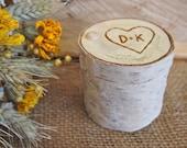 Ring BOX - Personalized White BIRCH Wood Ring BOX - Woodland Wedding - Ring Bearer - Engagement Gift