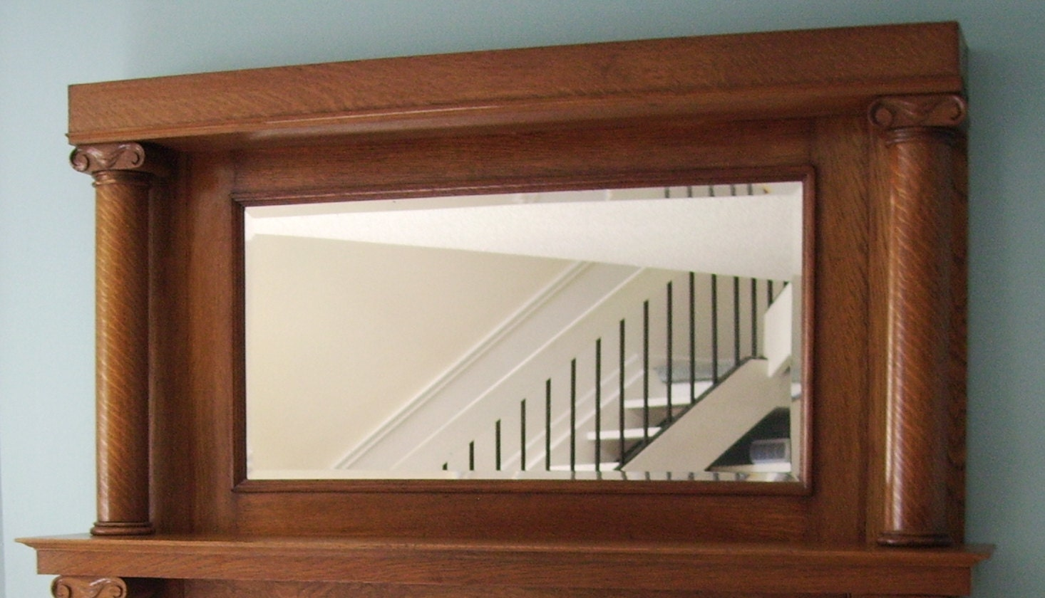 fireplace mantel mirror shelf antique tiger oak
