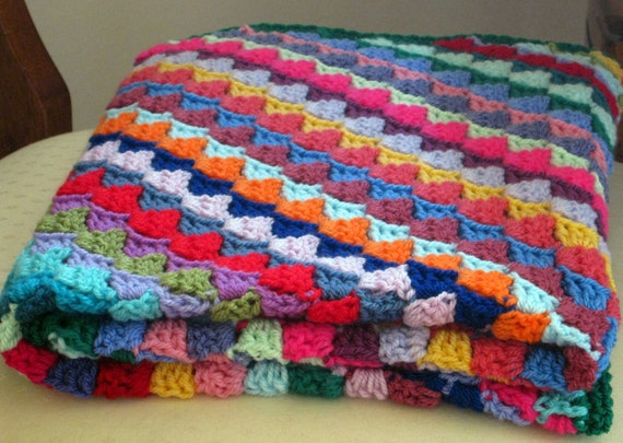 SALE Mosaic Tiny Tiles Multicoloured Baby Crochet Blanket Diagonal Stripes