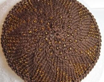 Gold and Chocolate Swirly Beaded Kippah