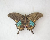 Butterfly Magnet - One Brown Blue and Yellow Color Laser Cut Wood Insect Magnet no.5