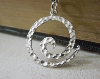 Hammered Spiral Necklace - Silver Textured Swirl Pendant Necklace Silver Chain