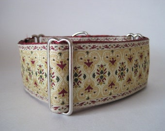 Jacquard Martingale Collar, 2 inch Martingale Collar, Christmas, Jacquard Dog Collar, Burgundy, Ivory, Greyhound Collar, Sighthound Collar