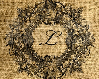Vintage Wreath Framed Letter L - Download and Print - Image Transfer - Digital Sheet by Room29 - Sheet no. 094L