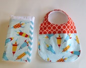 BOYS GIft Set - Rockets Teething Bib Burpcloth / Aqua Chevron Tangerine Feeding Set / Babiease Baby Boutique / Etsy Baby Gifts - Babiease