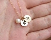 Gold Filled initial charm necklace,initial pearl necklace,Sisterhood necklace,Best Friends gift,Mom and baby,graduation gift,bridesmaid gift