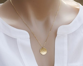 Long Layered Large hammered karma disc 14k Gold necklace,Hammered disc necklace, Gold Large round tag .Delicate everyday necklace