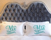 Mr & Mrs Script (can be personalized with date typically wedding anniv.) Pillowcases - Set of 2 - TW