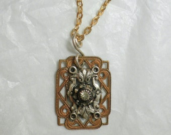 Art Nouveau Victorian Belle Epoch Style Filigree Pendant with Vintage 90s Delicate Crystal Accent