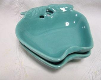 2 Vintage Hoenig of California Turquoise Apple Dishes Bowls Aqua Kitchen Decor