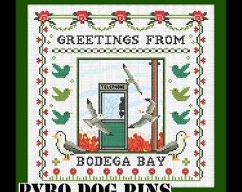 The Birds Cross Stitch Pattern PDF - Greetings From Bodega Bay Modern Cross Stitch Pattern - Instant Download