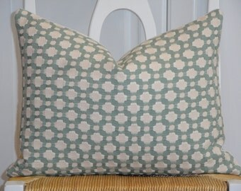 Schumacher - Betwixt in Water - Decorative Pillow Cover - Geometric - Lattice - Blue - Lumbar Pillow