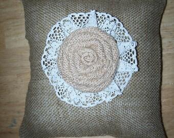 "Wedding Burlap Ring Bearer Pillow  (9"" X 9"")"