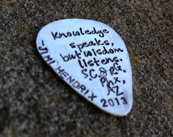 Hand-finished Solid Sterling Silver Guitar Pick - Playable - Genuine - You choose font, design and finish - Your message