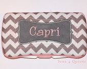Boutique Personalized Baby Grey and White Chevron Print Baby Wipes Case