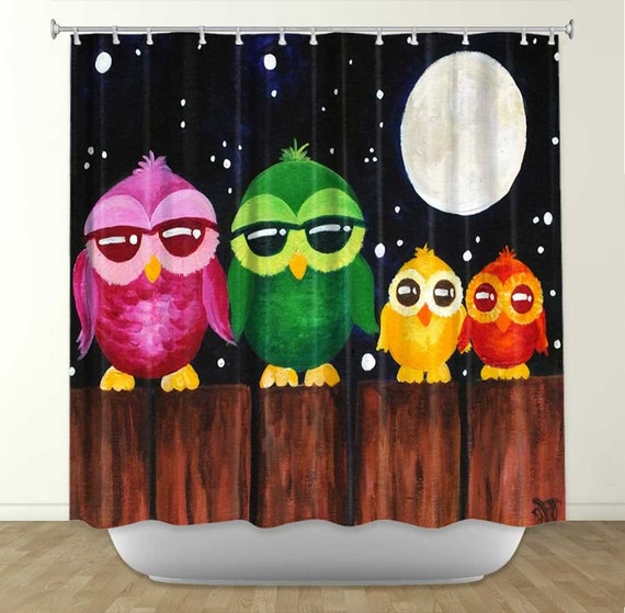 Items Similar To Shower Curtain Owls On A Fence 2