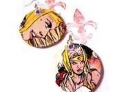 She-Ra - princess of power 2 sided hand-painted earrings - wearable art