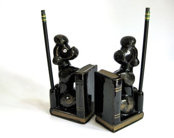 Kitschy Poodle Bookends with Pencil / Pen Holder
