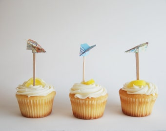 Paper Airplane Map Cupcake Toppers //  Set of 12 // Upcycled Recycled Vintage Atlas Pages // Origami Travel Party