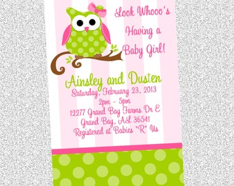 Pink and Green Owl Birthday Invitations - Printable or Printed - Owl Baby Shower Invitations - Owl 1st Birthday Party Invite