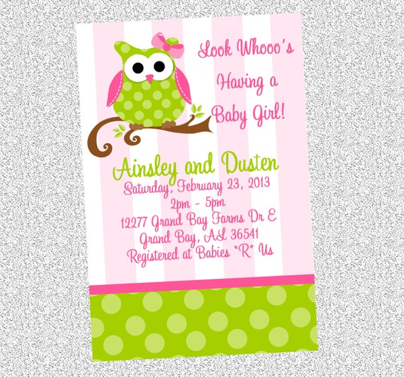 pink and green owl birthday invitations printable or printed owl