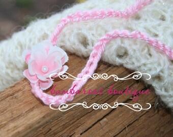baby headband, Newborn photography props, petite pink flower headband, newborn headband, pink headband