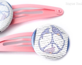 Peace Sign Barrette - Set of Two Hair Clips - Pastle Pink Hair Accessory - Peace Doves