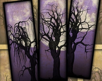 Dead Trees and Full Moons in Midnight Purple-- Halloween Digital Collage Sheet 1x3 Slides-- Instant Download