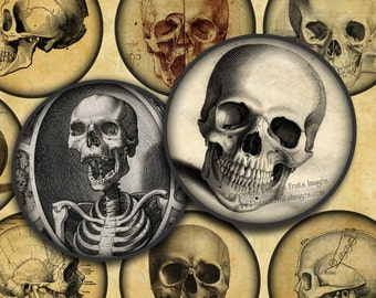 "Vintage Skull Images 2"" Circles - Halloween Digital Collage Sheet-- Instant Download"