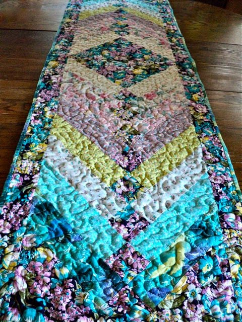 Quilted French Braid Shabby Chic Table Runner Topper Bed