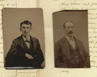 Antique Photos Tintype Tin Type Late 1800's MEN with Mustaches Lot of 2