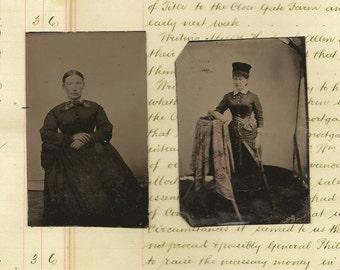Antique Photos Tintype Tin Type Late 1800's Women Ladies Lot of 2