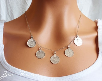Silver Arabic coin necklace beautiful quality antiqued silver coins with Arabic scripture